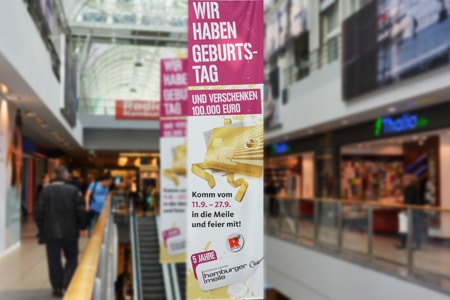 Mit einer großangelegten Sonderwerbeform lockt die Hamburger Meile zahlreiche Besucher ins Einkaufscentrum. Foto: radio Hamburg
