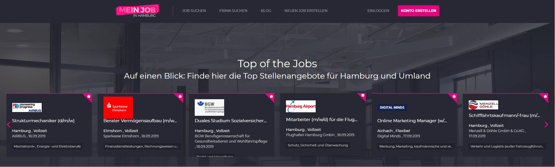 top of the jobs - screenshot
