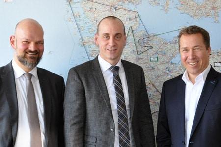 Talk bei Volkswagen in Norderstedt: Andreas Hahn-Heinrichs, Benedikt Schweinfest und Manfred Soyke.
