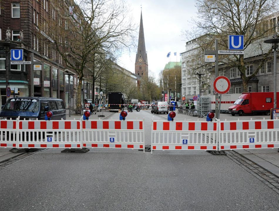 Für die TOP 828 wurde die Mönkebergstraße gesperrt