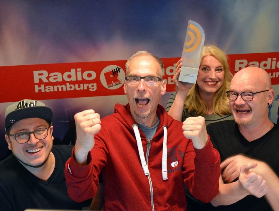 Der Deutsche Radiopreis 2017 für die Beste Morningshow geht an Radio Hamburg Foto: Radio Hamburg