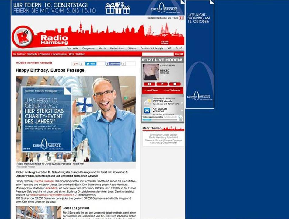 Die Europapassage feierte Geburtstag und ließ die komplette Gewinnspielseite in blau erstrahlen. Screenshot: www.radiohamburg.de