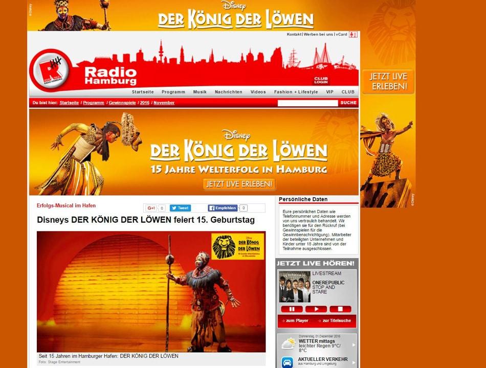 """Das Stage Musical """"Disneys Der König der Löwen"""" bringt die Wärme der afrikanischen Savanne auf die Gewinnspiel-Seite. Screenshot: www.radiohamburg.de"""